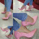 Pantofi stiletto roz pastel lacuiti