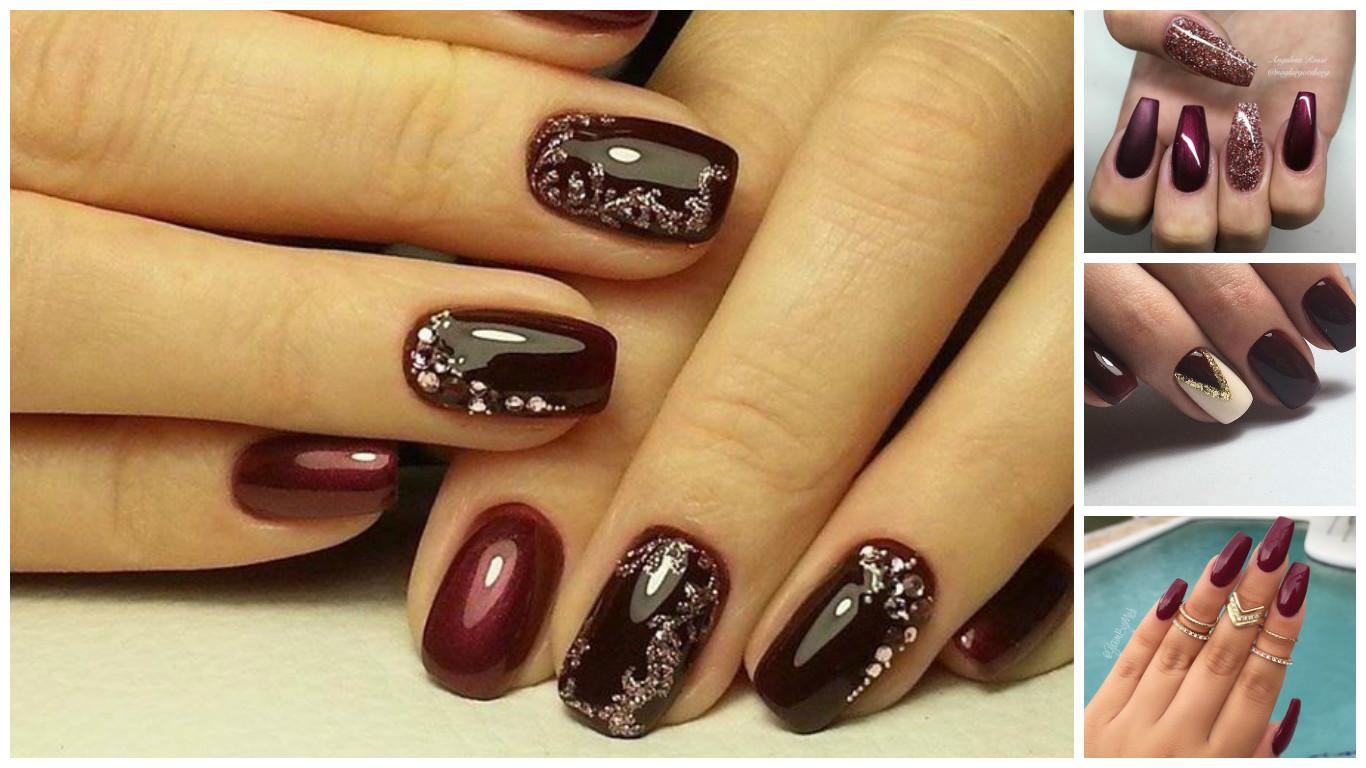 Modele unghii burgundy