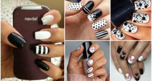 Modele unghii alb cu negru